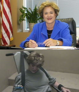 Rosemary Lehmberg before, and after needing to be restrained during DUI arrest