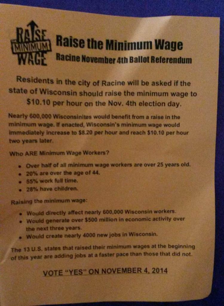 2014, Oct - Vote yes - Raise the Minimum Wage